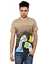 T - Shirt - Mens Tshirt - Hand Painted Raas Leela Theme - Beige Color