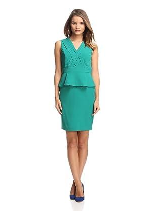 Chetta B Women's Peplum Dress with Crisscross Detail (Emerald)