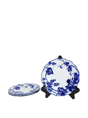 Set of 4 Flow Blue Warwick Dessert Plates, Blue/White