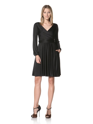 Halston Heritage with Cross-Over Dress with Sash (Black)