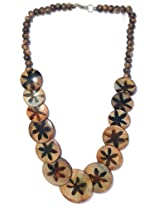 V3 Craft's Wooden Disks and Beads Necklace for Women