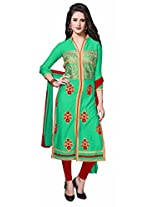 Khushali Presents Embroidered Glaze Cotton Dress Material(Green,Red)