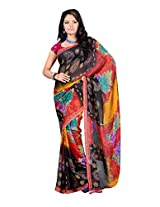 Ambaji Black & Red Coloured 60 Gram georgette Printed Saree
