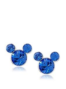 Disney Mickey September Birthstone Earrings, Silver