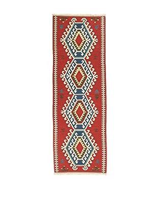 RugSense Alfombra Kilim Chantou Rojo/Azul 305 x 80 cm