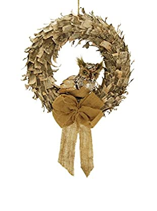 Winward Hand-Crafted Paper Bark Wreath with Owl, Natural
