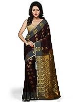 Utsav Fashion Women's Dark Maroon and Olive Green Art Silk Saree with Blouse