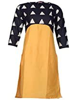 Bunkaari India Women's Cotton Regular Fit Kurti (00LK 16_46, Yellow, 46)