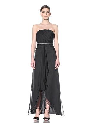 ABS by Allen Schwartz Women's Strapless Gown With Beaded Belt (Black)