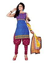 Sonal Trendz Blue Color Pure Cotton Printed Suit.