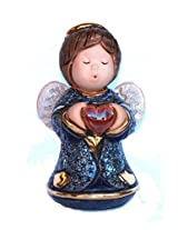 Rinconada Angel with heart Figurine, Blue