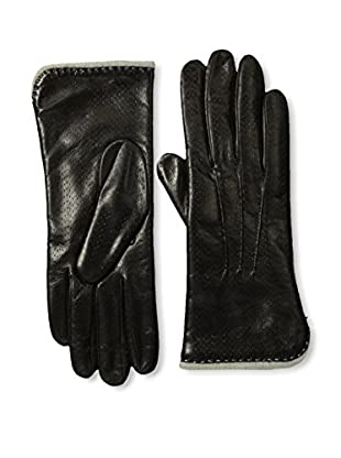 Portolano Women's Textured Leather Gloves with Contrast Lining (Black/Beige Blue)