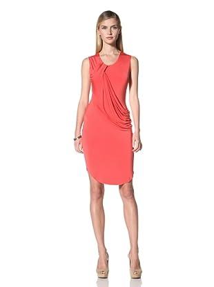 Poleci Women's Drape Jersey Dress (Red Coral)