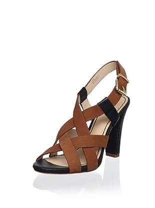 Pour La Victoire Women's Vy Crossed Sandal (Black/Cognac)