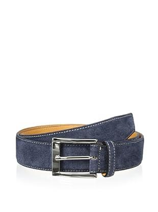 Leone Braconi Men's Velour Z Suede Belt (Blue)