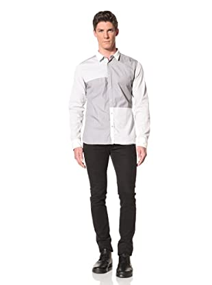 Edun Men's Long Sleeve Color Blocked Pinstripe Shirt (Oyster)