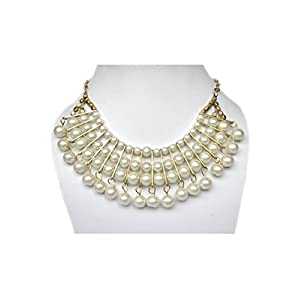 AidaLane White Pearl with Golden Plated Layered Necklace for Women