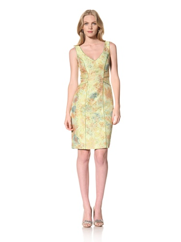 Theia Womens Jaquard Dress with Contrast Satin Piping (Apple)