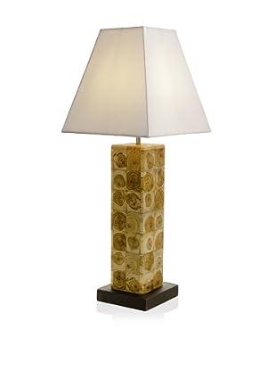 Teak Table Lamp, White