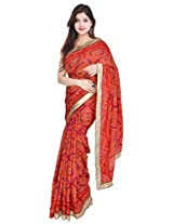 Geroo Bandhani Partywear Art Silk Red Saree Embelished with Golden Border with Blouse