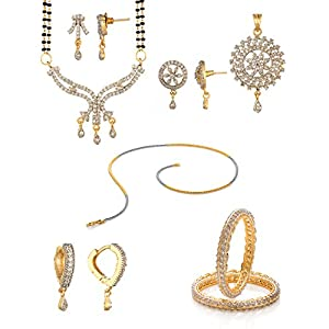 Voylla Festive Combo Set Of Chain Bangles Earrings Mangalsutra Set And Pendant Set