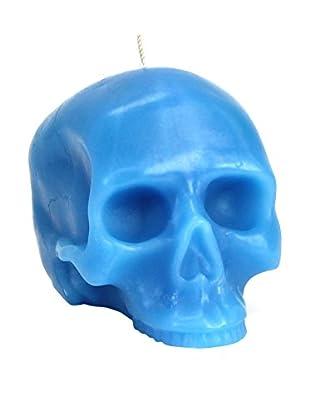 D.L. & Co. Medium Blue Skull Candle