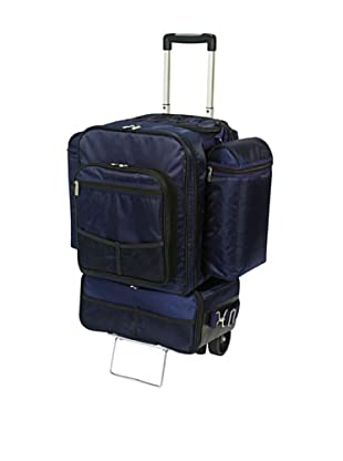 Picnic Time Excursion Deluxe Cooler on Wheels with Picnic Service for 4 (Navy)