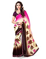 Sourbh Sarees Pink and Beige Faux Georgette Best Sarees for Women Work Wear,Diwali Durga Pujo Gifts for female, Women Clothing Collection