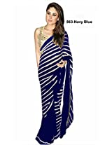 Silons Designer Georgette Embroidered Saree (SD-1157_Royal Blue)