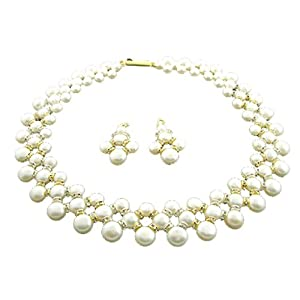 Trendy Souk Networking Design CZ studded, Real Fresh Water Hyderabadi, Button Pearls Necklace for Women - White