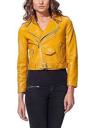 L'OLIVE VERZE Jacke Cropped Biker With Belt Detail