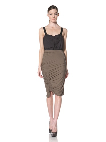 Zero + Maria Cornejo Women's Kiara Asymmetrical Ruched Skirt (Funghi)