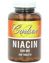 Carlson Labs Niacin, 500mg, 250 Tablets