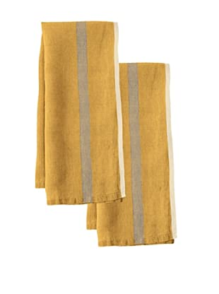 Couleur Nature Set of 2 Laundered Linen Tea Towels, Mustard/Natural