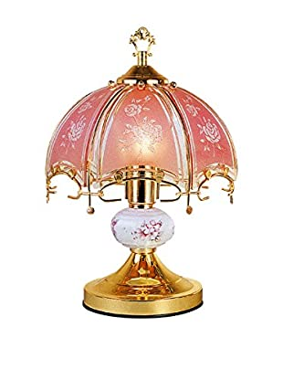 ORE International Floral 1-Light Touch Lamp, Pink