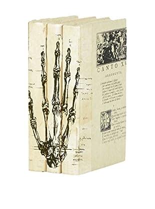 Go Home Set of 3 Hand Bones Books, Black/Ivory