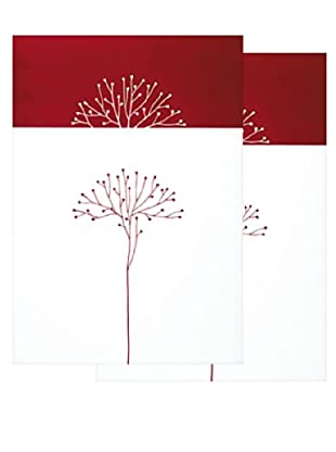 Nouvelles Images White Tree on Red 2-Pack Greeting Cards
