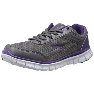 Slazenger Women's Virginia Grey And Purple Mesh Running Shoes -3 UK By Slazenger