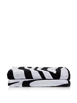 Famous International Zebra 2 Piece Bath Sheet Set, Black/White
