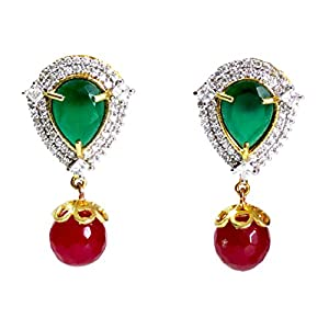 Daamak Jewellery Green Stud With Cubic Zircon Earring