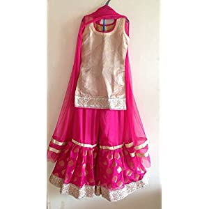 Girls pink beige and gold sharara suit with short top and flared brocade sharara