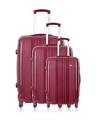Travel ONE Set de 3 trolleys rígidos Barnley Rojo