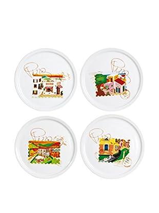Molecuisine Pizzateller 4 tlg. Set Stamp weiß/mehrfarbig