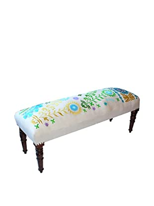 Mélange Home Suzani Embroidered Bench, Cream