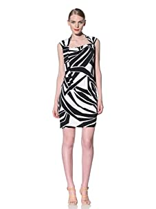 Muse Women's Abstract Nautical Striped Dress (Black/White)