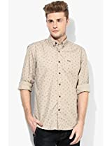 Beige Printed Regular Fit Casual Shirt Wrangler