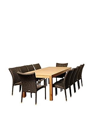 Amazonia Teak Syracuse 11-Piece Wicker Rectangular Dining Set, Brown