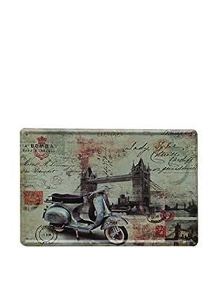 Lo+Demoda Wandbild Vintage Vespa Blue London