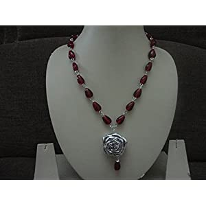 Mona Jewels Red Beaded Necklace with Silver Pendant
