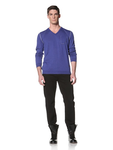LOVE Moschino Men's Knit Sweater with Contrast Seaming (Blue)